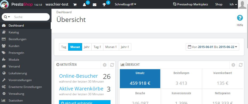 Screenshot von PrestaShop 1.6.1 Backend
