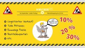 Printdesign Baustellenmarketing - Bauzaunplakat Einkaufsstadt Wolfsberg 2018