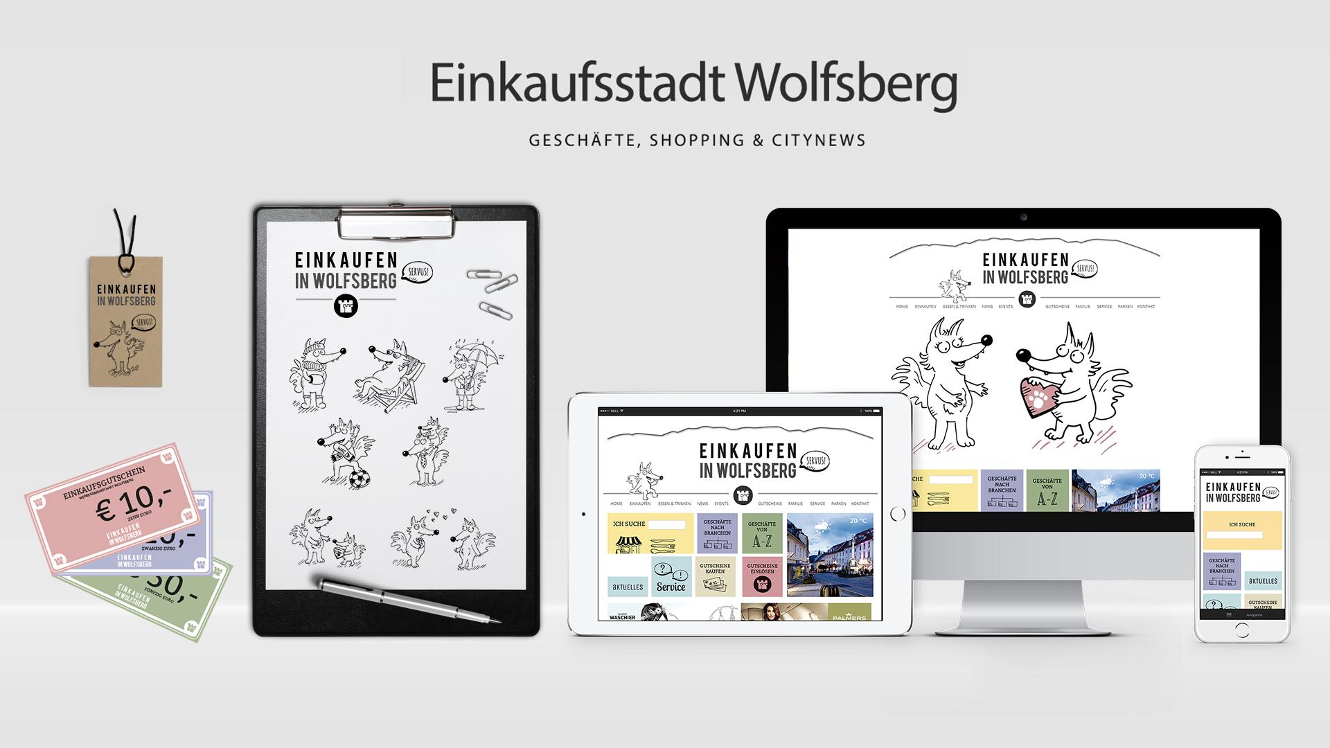 Einkaufsstadt Wolfsberg – Corporate Design / Redesign und WordPress Seite