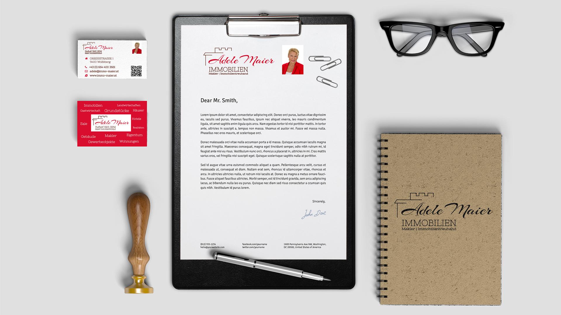 Corporate Design und Logo Design für Immobilien Maier
