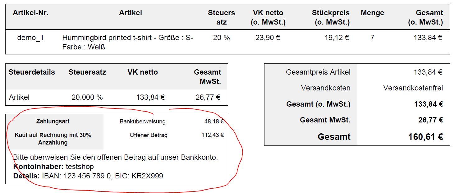 PrestaShop Invoice with downpayment (partial payment)
