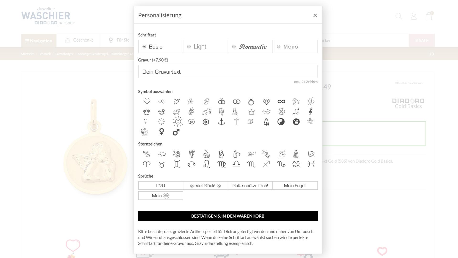 Schriftarten und Icons für Personalisierung
